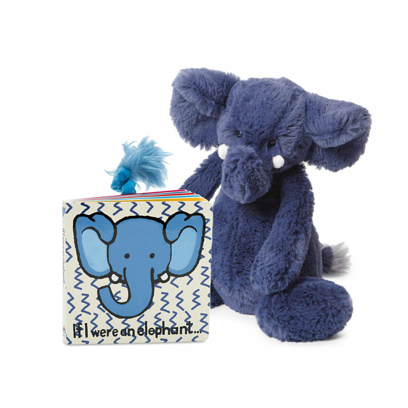 Jellycat If I Were an Elephant Book & Bashful Elephant Plush