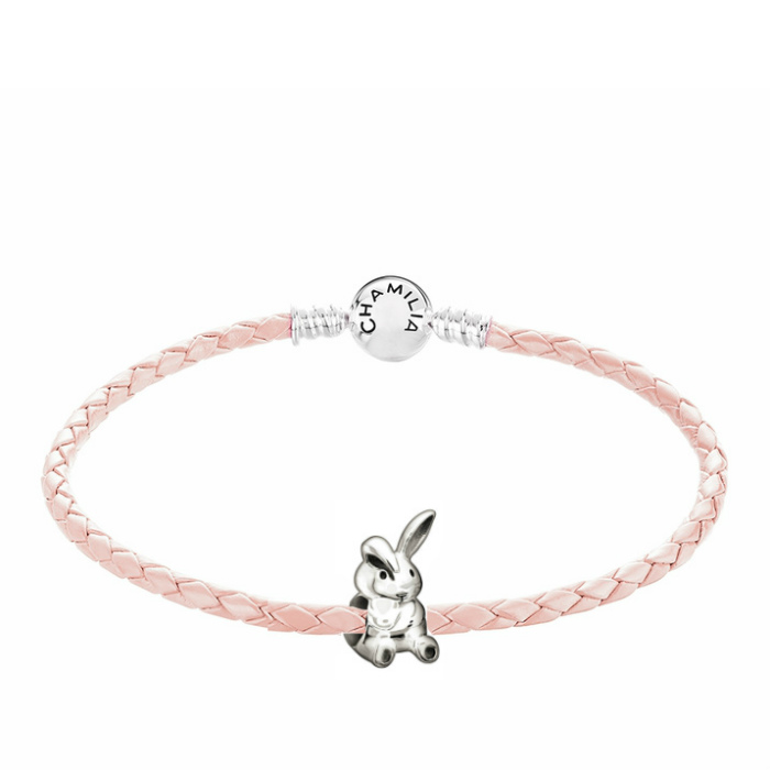 Chamilia Bunny Blush Leather Braided Bracelet