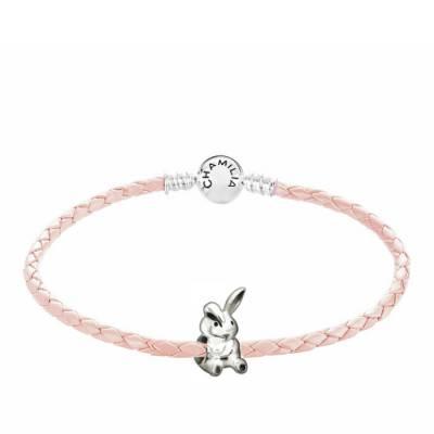 Bunny Blush Leather Braided Bracelet