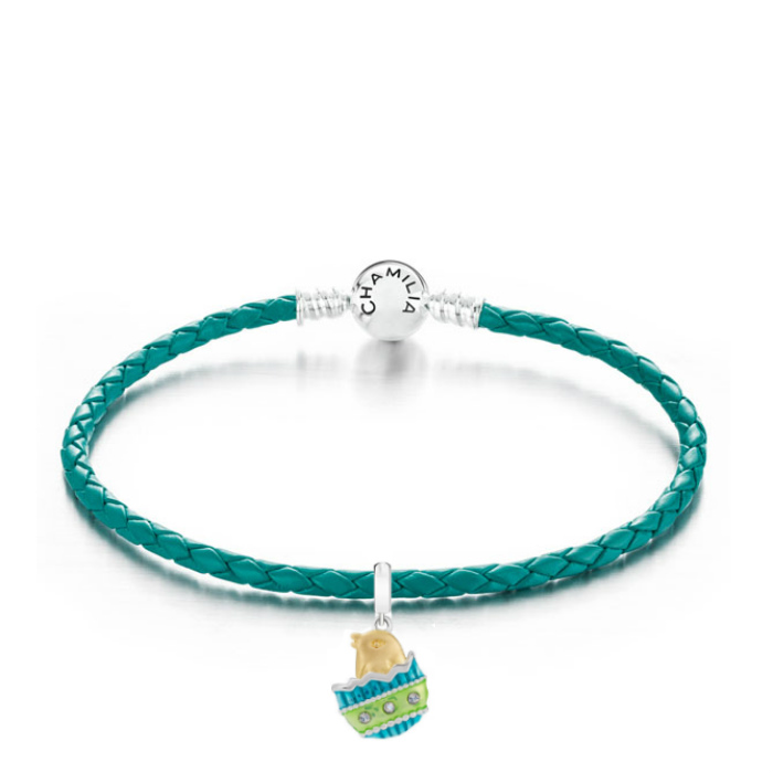 Chamilia Limited Edition Chickadee Teal Leather Braided Bracelet