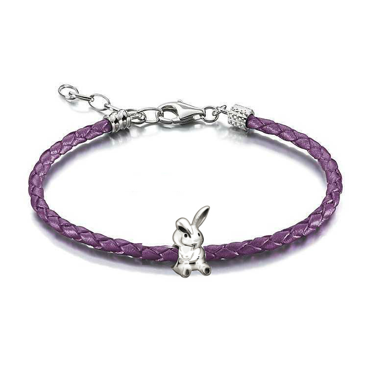 Chamilia Bunny Purple Leather Braided Bracelet