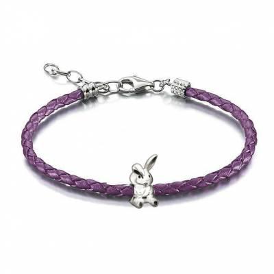 Bunny Purple Leather Braided Bracelet