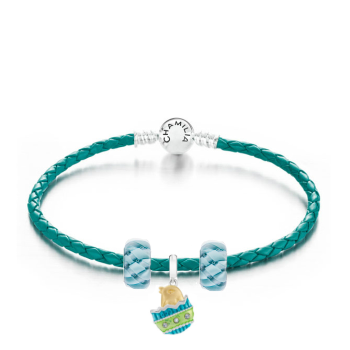 Chamilia Chickadee Bonnie Blue Teal Leather Bracelet