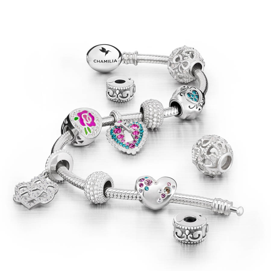 Chamilia Perfect Rose Love Charm Bracelet