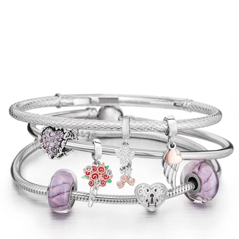 Chamilia Follow Your Heart Charm Bracelet Stack