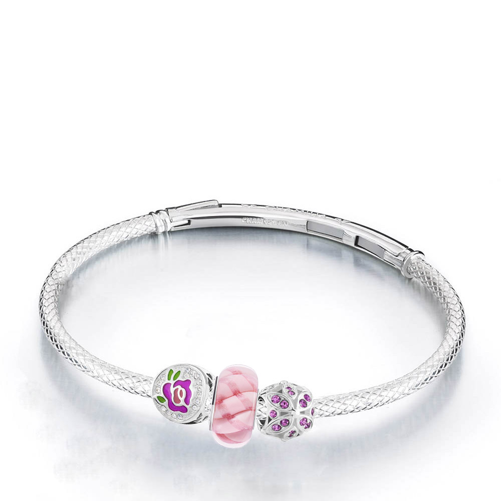 Chamilia Floral Perfect Rose Charm Bracelet