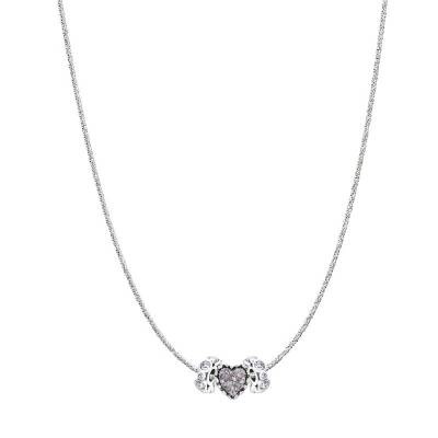 Ruffled Heart Charm Glam Necklace