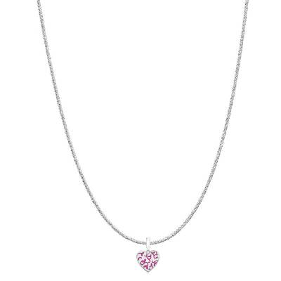 Floral Engraved Love Heart Charm Glam Necklace