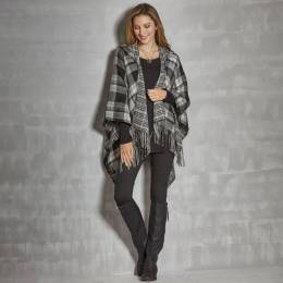 That's A Wrap Plaid Hooded Wrap