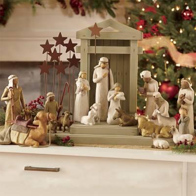 Six Piece Nativity Set with Creche