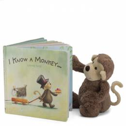I Know a Monkey Board Book and Bashful Plush