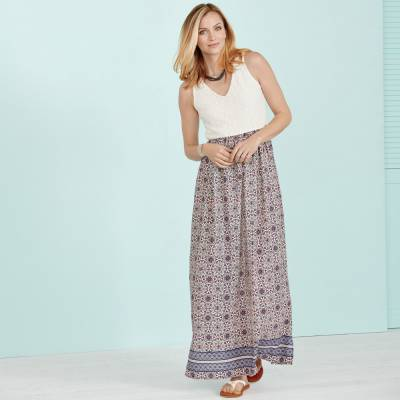 Lace-Top Maxi Dress with Coastal Sandals & Accessories
