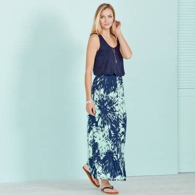 Printed Floral Maxi Dress with Coastal Sandals and Accessories