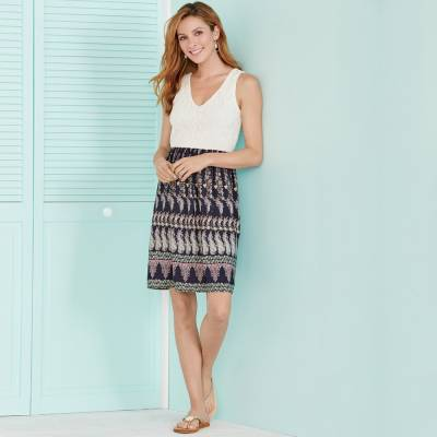 Lace-Top Dress with Coastal Sandals and Accessories
