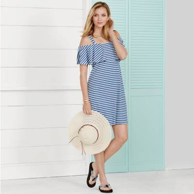 Stripe Dress with Coastal Hat & Sandals
