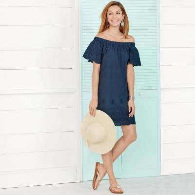 Off-The-Shoulder Eyelet Dress with Filigree & Coastal Accessories