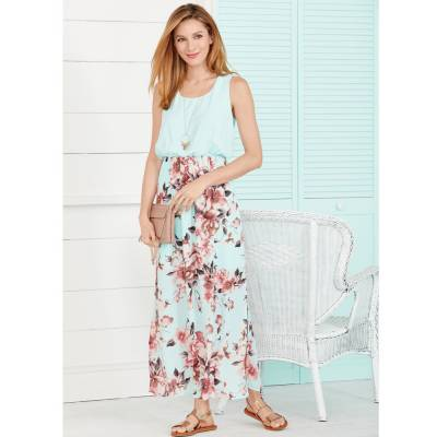 Floral Print Maxi Dress with Rosy Accessories