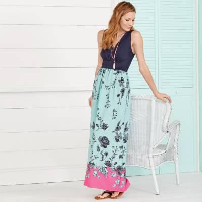 Fuchsia Floral Dress and Coastal Sandals