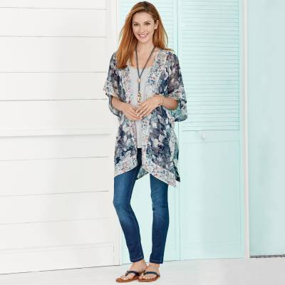Layered Kimono Scarf Vest with Skinny Jeans and Coastal Accessories