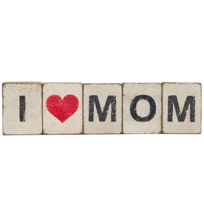 I Heart Mom Reclaimed Wood Block Bundle