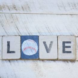 Rustic Marlin Love Baseball Reclaimed Wood Block Bundle