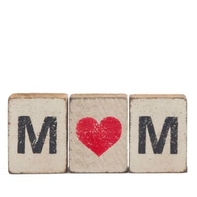 Mom Heart Reclaimed Wood Block Bundle